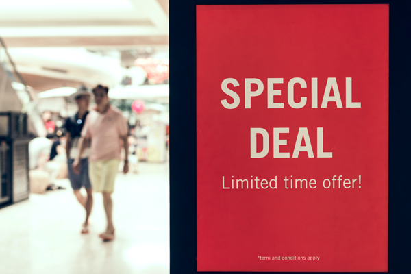 Red background saying special deal