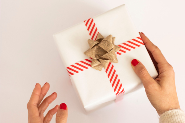 White and red wrapped present