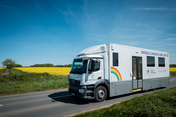 Hope for Tomorrow mobile cancer care unit van on the road